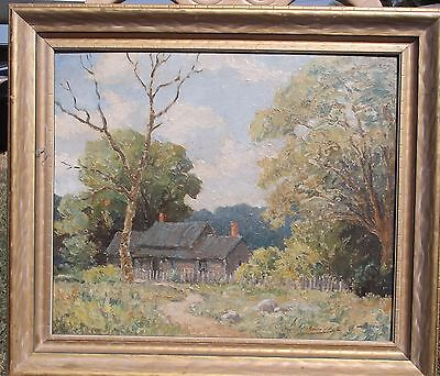"""Archie Palmer Wigle """"Cabin In the Woods"""" Oil Painting"""