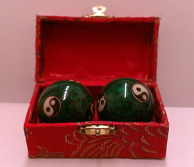 Chinese Musical Massage Balls Pair of 2 Heavier with Crispy Chimes Health Hands