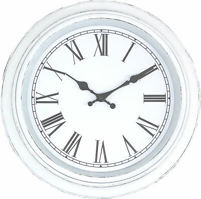 Distressed Painted White Wall Clock French Antique Vintage Shabby Chic 38cm NEW