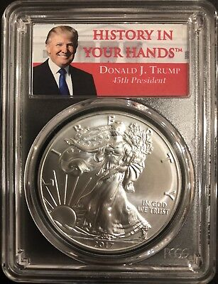2017 1oz Silver Eagle PCGS MS70 - First Strike - Donald Trump Label, ASE,
