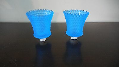 2 Pale Blue Hobnail Glass Pegged Candle Holders Votive Cups