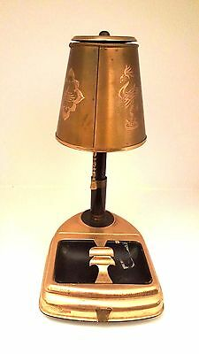 Vintage Cigarette Dispenser With Metal Lamp Shade, Music Box Base and ashtray