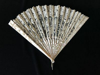 Elegant Antique Hand Fan Bone MOTHER of PEARL MOP & Lace