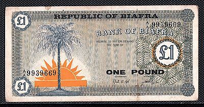 Sb30 Biafra  1 Pound Bank Of Biafra 1967 Very Fine P.2 $25.00