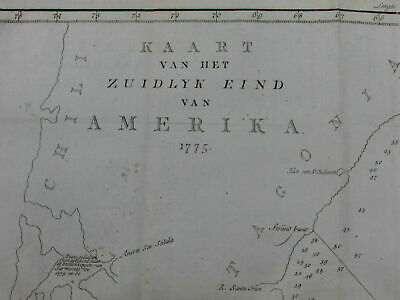 Patagonia Argentina Chile Falkland Islands 1775-1800 antique map nautical chart