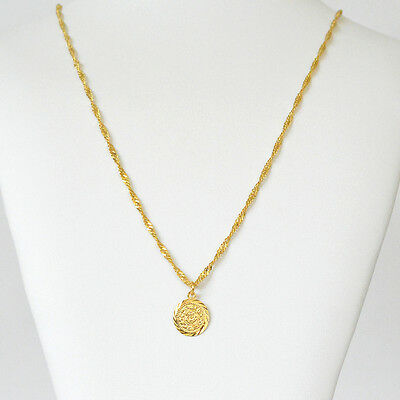 Babylonian Persian Coin Necklace Pendant Men/Women Unisex 24k Gold Plated - 5/8""