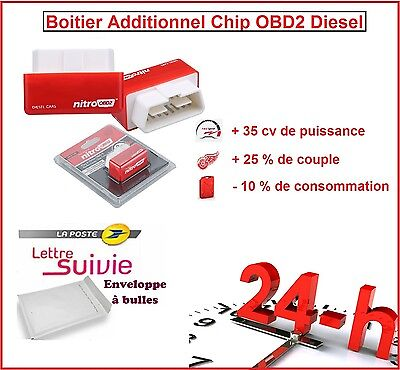 Boitier Additionnel Chip Box Puce Obd2 Diesel Peugeot 208 Xy 1.6 Hdi 90/92 Cv