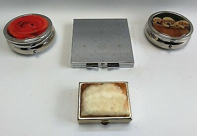 Vintage Bulk Lot of 4 Various Pill Tablet Metal Boxes Holders Dogs Flowers