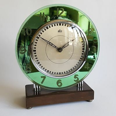 Rare French Bulle Art Deco clock green mirror and chrome ATO electro mechanical