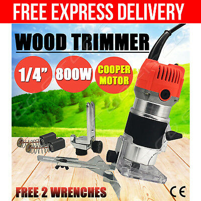 800W 1/4'' Electric Edge Guide Palm Laminate Trimmer Router Plunge Compact Kit
