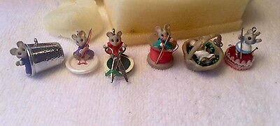 Hallmark Vintage 1992 'sew, Sew Tiny' Set Of 6 Miniature Mice Keepsake Ornaments