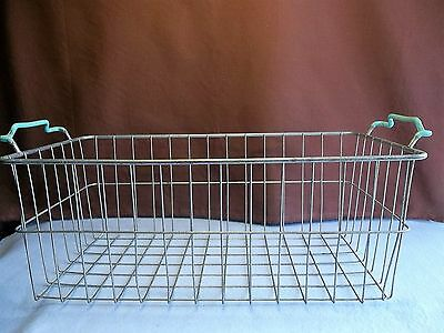 "Vintage Metal Industrial Wire Basket With Teal Blue Handles 20""x10"""