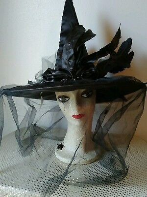 Spirit Black Feather Witch Hat Halloween Costume Accessory Adult with Veil