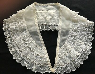 "Mid Century Three Rows Nylon Lace Decorated Long Beautiful Collar 29"" x 5 1/4"""