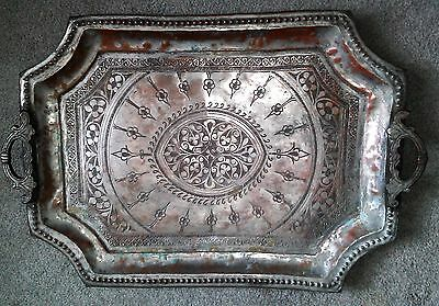Antique Copper Rectangular Tray-Possibly Turkish or Middle Eastern