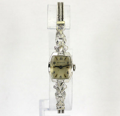 Wittnauer vintage mechanical ladies watch diamond 14K white gold circa 1950 12GM