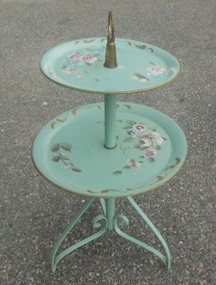 Vtg TOLE Metal Painted Tray Table Two Tier Butler Tea Server Flowers Teal Garden