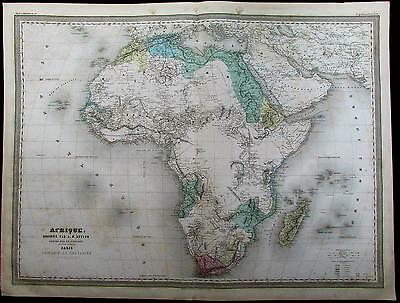 "Africa Mountains of the Moon ""Hottentots"" huge rare. c.1865 Dufour antique map"
