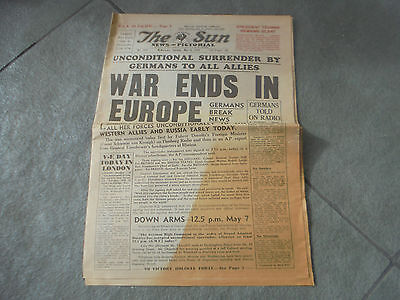Melbourne Tuesday  May 8,1945 The Sun War Ends In Europe Full Newspaper 16 Pages