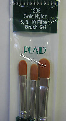 3 Plaid #6 #8 #10 Filbert Paint Brush Nylon Bristle Paintbrush Strokes Painting