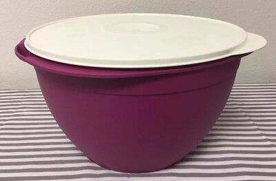 Tupperware Essentials Blossom Bowl 18 Cups Red w// Ivory Seal New