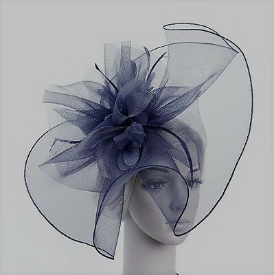 Stunning Navy Crinoline And Feather Fascinator On Navy Headband, Spring Races