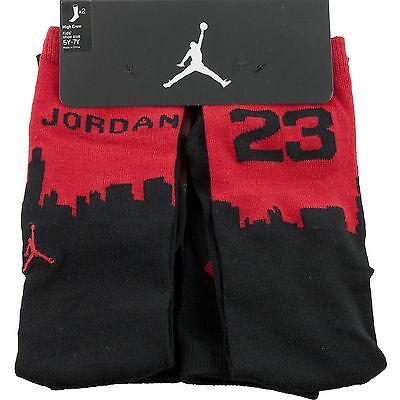 Nike Jordan Kids Boys High Crew Socks Size 9-11 Shoe Sz 5Y-7Y 2 Pair Red