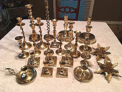Mixed Lot of 24 Vintage Brass Candle Holders -EXCELLENT SHINY Candlesticks