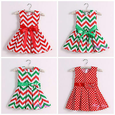 Christmas dress - Cotton Red & Green Chevron with bow,polka dot XMAS IN STOCK!
