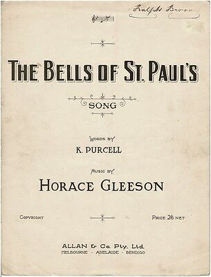 Horace Gleeson  - The Bells Of St. Paul's  - 1940 Sheet Music Book Piano Vocal