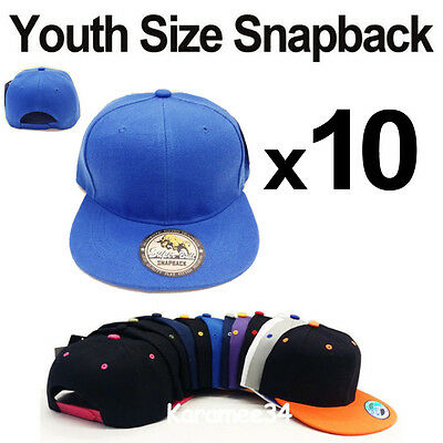 Wholesale lot 10 Kids Youth size snapback caps hats Blank Plain Solid Children's