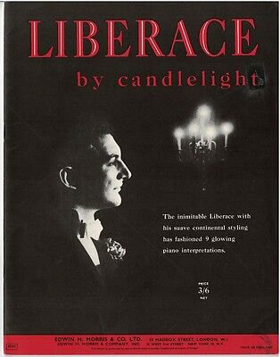 Liberace By Candlelight - 1953 Sheet Music Book for Solo Piano - 9 Songs