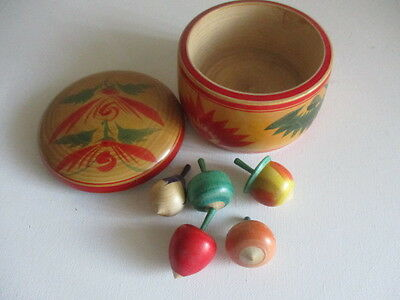 Vintage Japanese Round Wooden Box with Five Wooden Fruits ?Japanese Kids Game