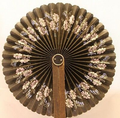 "Vintage, 8 1/2"" Round, Flowered, Hand Fan"
