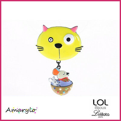 Broche LOL BIJOUX  Chat Tommy Coll. CHAT GOURMAND - Jaune