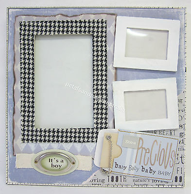 New Baby Boy Photo Frame Embellished Its A Boy Precious Freestanding 3 Photos