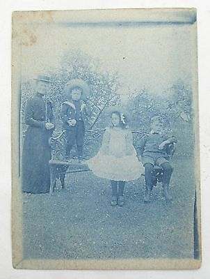 ANTIQUE 19th CENTURY EDWARDIAN CYANOTYPE AMATEUR PHOTOGRAPH RP POSTCARD CHILDREN