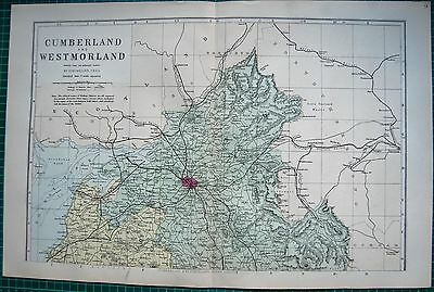 1884 Large Antique County Map-Bacon -Cumberland & Westmorland Nth & Sth,2 Maps