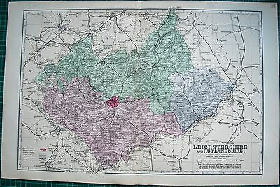 1884 Large Antique County Map-Bacon -Leicestershire & Rutlandshire