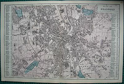 1884 Large Antique Town Plan-Bacon -Bradford, With Street Directory