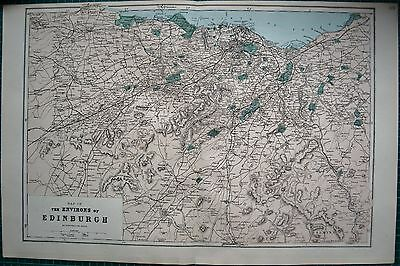 1884 Large Antique Map-Bacon -Weller-Environs Of Edinburgh