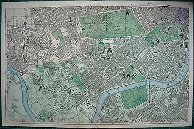 1884 Large Antique Town Plan-Bacon -London West Chelsea, Hammersmith,kensington