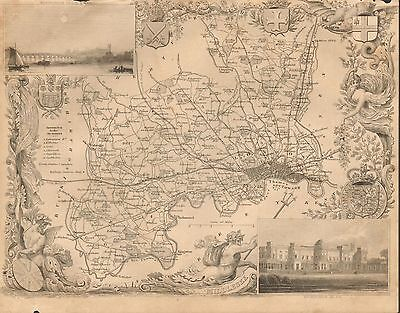 1850 Ca ANTIQUE COUNTY MAP-MOULE-MIDDLESEX