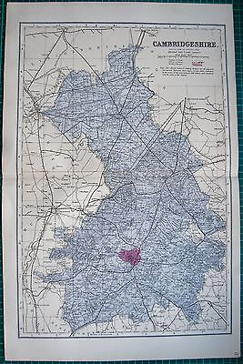 1884 Large Antique County Map-Bacon -Cambridgeshire, Caxton, March,wisbeach,lint