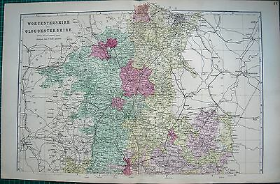 1884 Large Antique County Map-Bacon -Weller, Worcester & Gloucestershire, 2 Maps