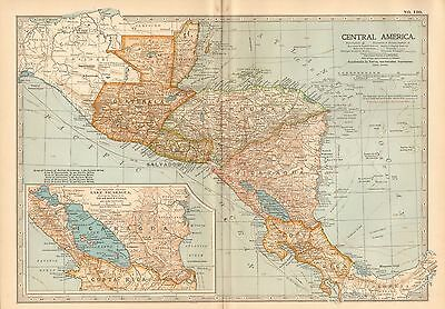 1903 Britannica Antique Map-Central America