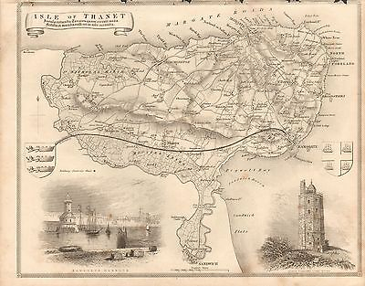 1850 Ca ANTIQUE COUNTY MAP-MOULE-ISLE OF THANET, BROADSTAIRS, MARGATE,
