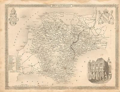 1850 Ca ANTIQUE COUNTY MAP-MOULE-DEVONSHIRE, EXETER, DARTMOUTH, BARNSTAPLE, PLYM