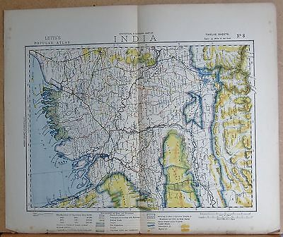 1883  Antique Map India, Calcutta, Lower Assam, Chittagong, Koosh Behar
