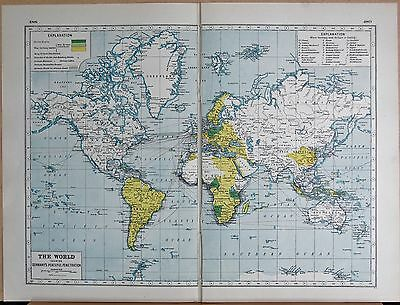 1920 Map World War 1- The World, Showing Germany's Peaceful Penetration